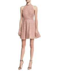 Alice Olivia Hollie Sequined Fit And Flare Racerback Dress Pink