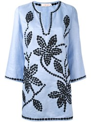 Michael Michael Kors Floral Embroidery Tunic Blue