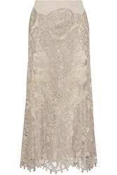 Donna Karan Stretch Jersey Macrame Lace And Tulle Maxi Skirt