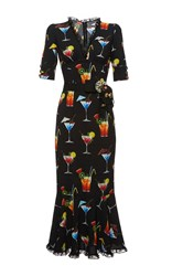 Dolce And Gabbana Italian Cocktail V Neck Dress Print