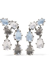 Larkspur And Hawk Caterina Rhodium Dipped Quartz Earrings Silver Blue