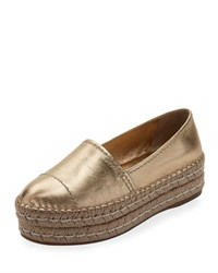 Prada Metallic Leather Platform Espadrille Platino Gold
