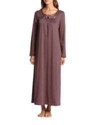 Hanro Queen Long Cotton Knit Gown Purple