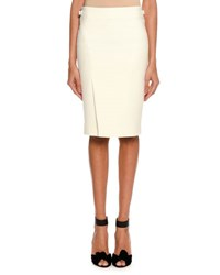 Tom Ford Wool Side Slit Pencil Skirt White
