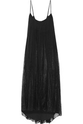Haute Hippie Paneled Corded Lace And Silk Chiffon Midi Dress Black