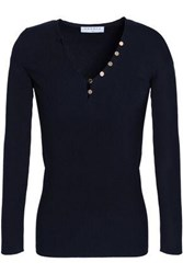 Sandro Button Detailed Stretch Knit Top Navy