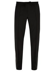 Valentino Side Stripe Wool Blend Track Pants Black