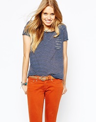 Pepe Jeans Striped T Shirt Navy