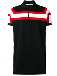 Givenchy Contrast Striped Panel Polo Shirt Black
