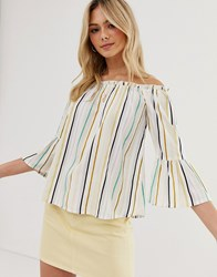 Influence Off Shoulder Top With Flared Sleeves In Natural Stripe White