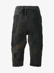 By Walid Floral Embrdoiered Cropped Trousers Khaki Linen