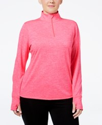 Ideology Plus Size Essential Quarter Zip Top Only At Macy's Molten Pink