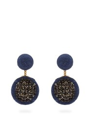 Rebecca De Ravenel Pomegranate Swarovski Crystal Clip Earrings Navy