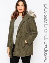 New Look Inspire Faux Fur Hooded Parka Green