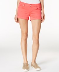 Celebrity Pink Juniors' 3 Cuffed Colored Wash Denim Shorts Paradise Pink