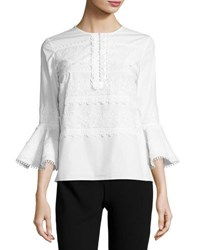 Oscar De La Renta 3 4 Sleeve Lace High Low Top Ivory