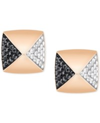 Swarovski Rose Gold Tone Clear And Black Pave Square Stud Earrings