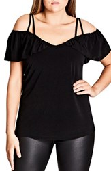 City Chic Plus Size Women's Frill Off The Shoulder Top Black