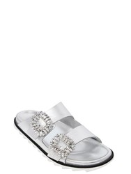 Roger Vivier 30Mm Metallic Leather Swarovski Sandals
