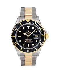 Pre Owned Rolex Stainless Steel And 18K Yellow Gold Two Tone Submariner Watch With Black Dial 40Mm Black Gold