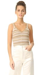 Alice Olivia Sandrine Crochet Cropped Tank Natural Gold