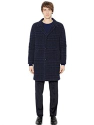 Massimo Piombo Faded Houndstooth Alpaca Blend Coat