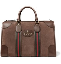 Gucci Webbing And Leather Trimmed Suede Holdall Brown