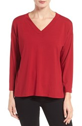 Eileen Fisher Women's Jersey Boxy Top China Red