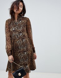 Na Kd High Neck Leopard Print Mini Shirt Dress In Brown Multi