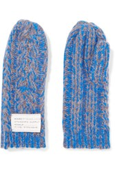 Marc By Marc Jacobs Chunky Knit Wool Blend Mittens Blue