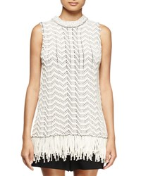 Proenza Schouler Sleeveless Fringe Hem Top Off White Black Off White Black