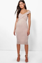 Boohoo Off The Shoulder Midi Bodycon Dress Sand