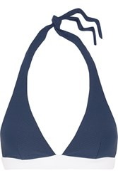 Heidi Klein Cape Cod Halterneck Stretch Cloque Bikini Top Blue