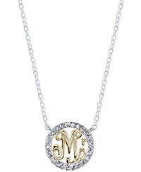Unwritten Initial 'M' Pendant Necklace With Crystal Pave Circle In Sterling Silver And Gold Flash Two Tone