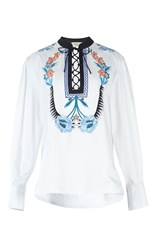 Temperley London Peacock Lace Up Shirt White