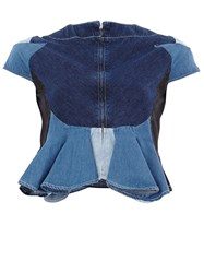 Anrealage Patchwork Denim Shirt Blue