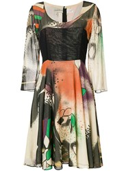 William Vintage 1969 Hand Painted Flared Dress Multicolour