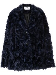 Proenza Schouler Pswl Faux Shearling Long Coat Blue