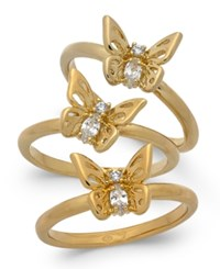 Kate Spade New York Gold Tone 3 Pc. Set Crystal Butterfly Stackable Rings Clear Gold