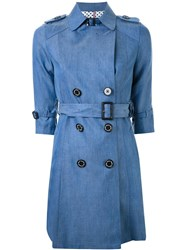 Guild Prime Half Sleeve Flared Trench Coat Blue