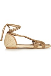 Paloma Barcelo Macrame And Jute Sandals Brown