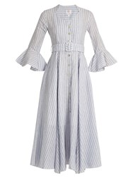 Gul Hurgel Fluted Sleeve Striped Linen Dress Blue Stripe