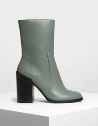 Charles And Keith Classic Calf Boots Sg.Grn