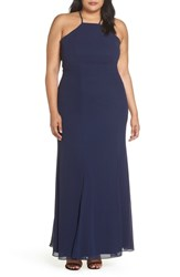 Chi Chi London Plus Size Lace Back Gown Navy