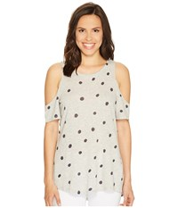 Vince Camuto Short Sleeve Polka Dot Touches Cold Shoulder Tee Grey Heather Women's T Shirt Gray