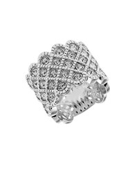 Michela Rhinestone Accented Lattice Ring Silver