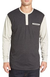 Imperial Motion Men's 'Salvage' Long Sleeve Henley Charcoal Oatmeal