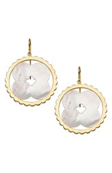 Asha Lily Drop Earrings Mother Of Pearl Gold