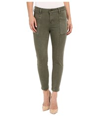 Liverpool Kylie Cropped Cargo Slub Stretch Twill Olive Night Women's Casual Pants Green
