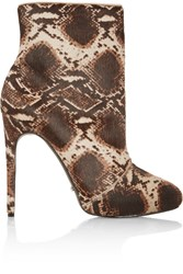 Schutz Snake Print Calf Hair Ankle Boots Animal Print